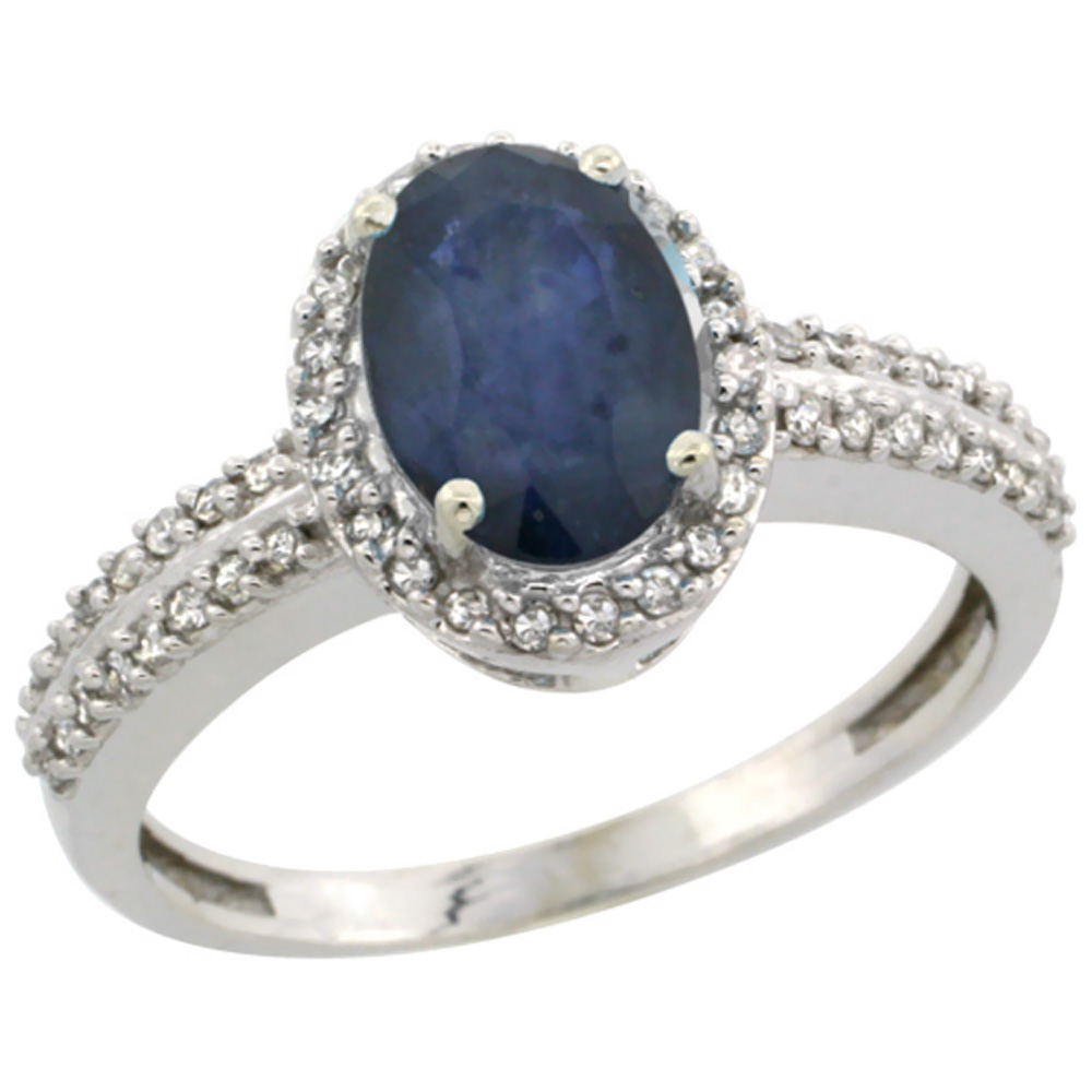10k White Gold Natural Blue Sapphire Ring Oval 8x6mm Diamond Halo, sizes 5-10