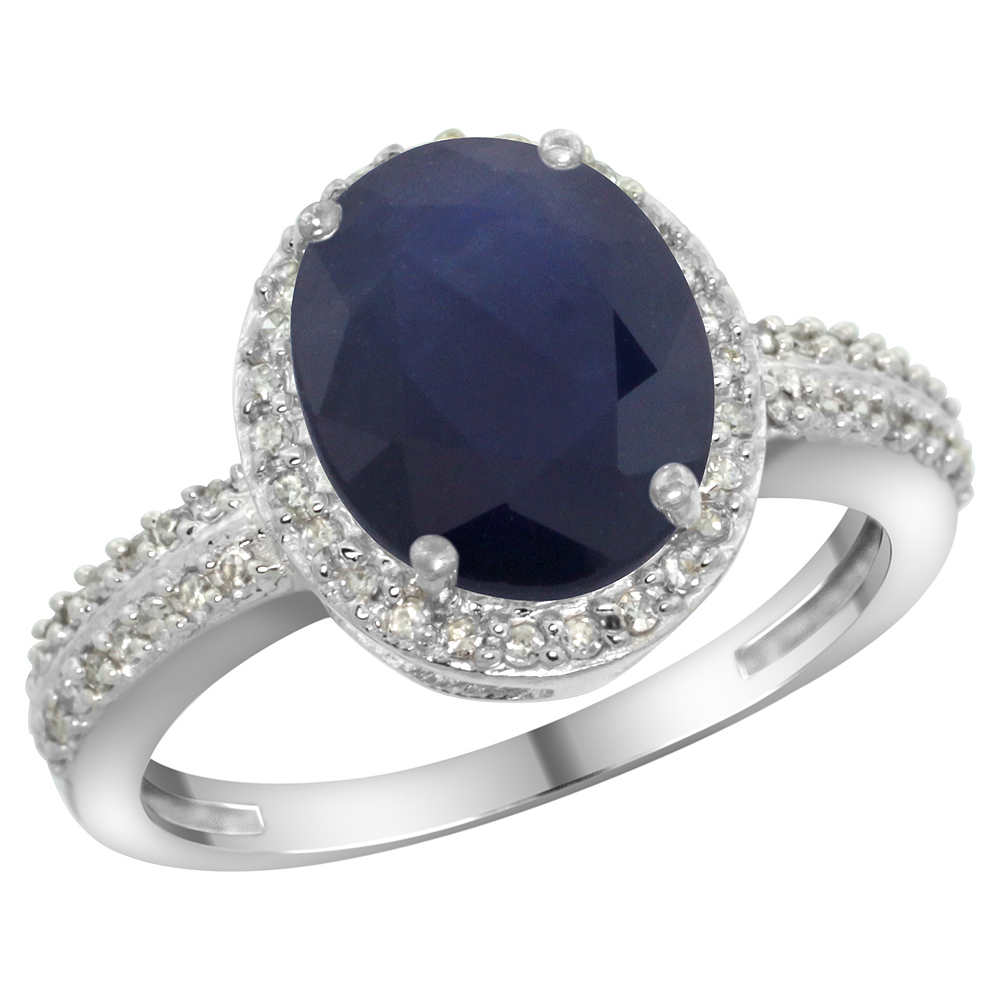 14K White Gold Diamond Natural Blue Sapphire Engagement Ring Oval 10x8mm, sizes 5-10