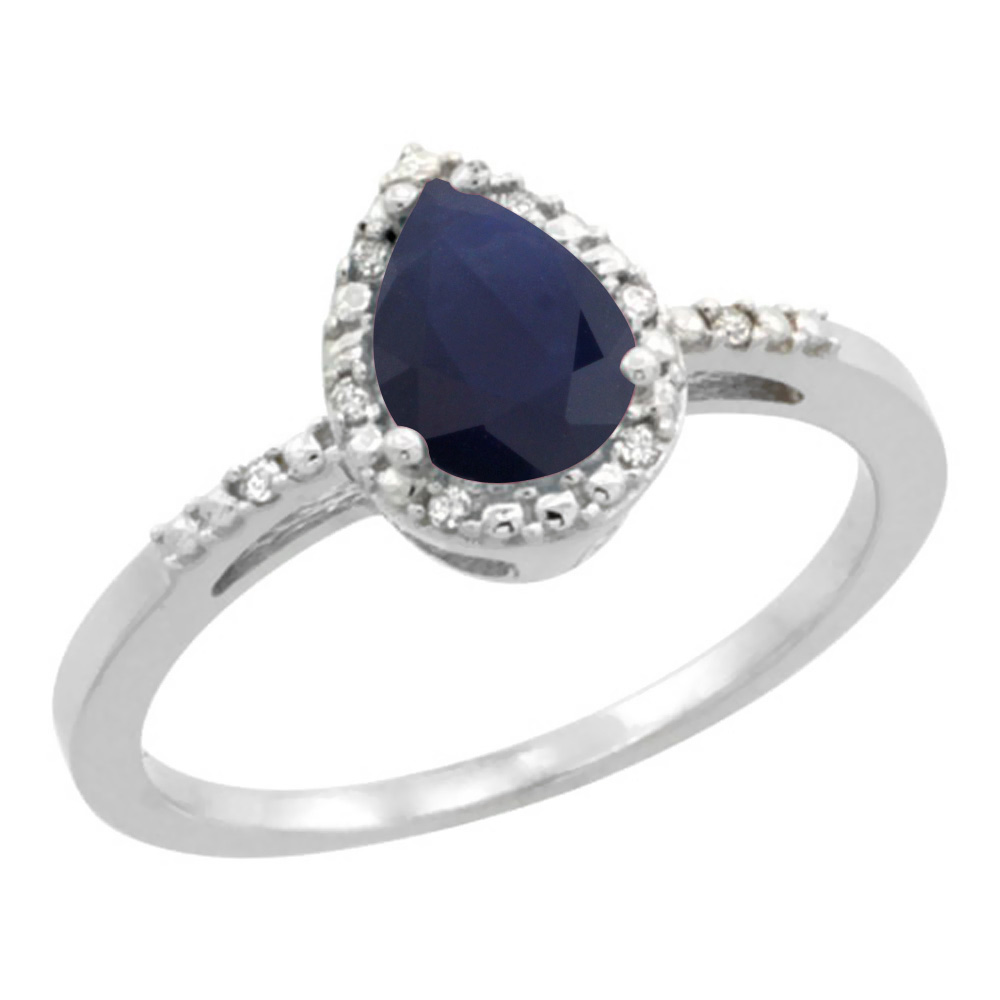 14K White Gold Diamond Natural Blue Sapphire Ring Pear 7x5mm, sizes 5-10