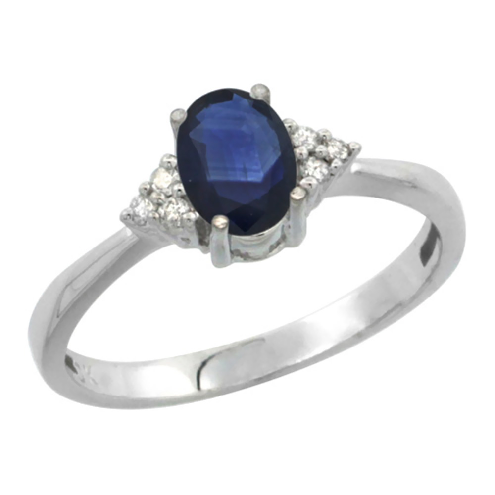 10K White Gold Diamond Natural Blue Sapphire Engagement Ring Oval 7x5mm, sizes 5-10