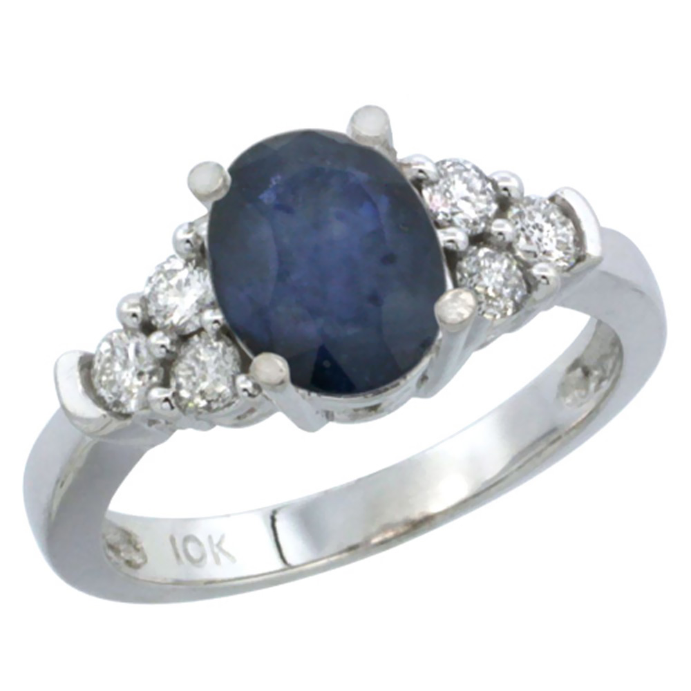14K White Gold Natural Blue Sapphire Ring Oval 9x7mm Diamond Accent, sizes 5-10
