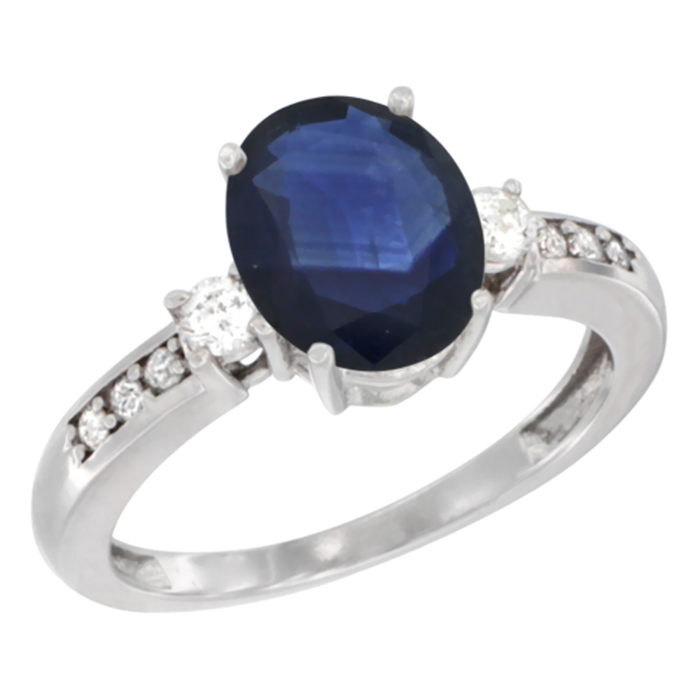 14K White Gold Natural Diffused Ceylon Sapphire Ring Oval 9x7 mm Diamond Accent, sizes 5 - 10