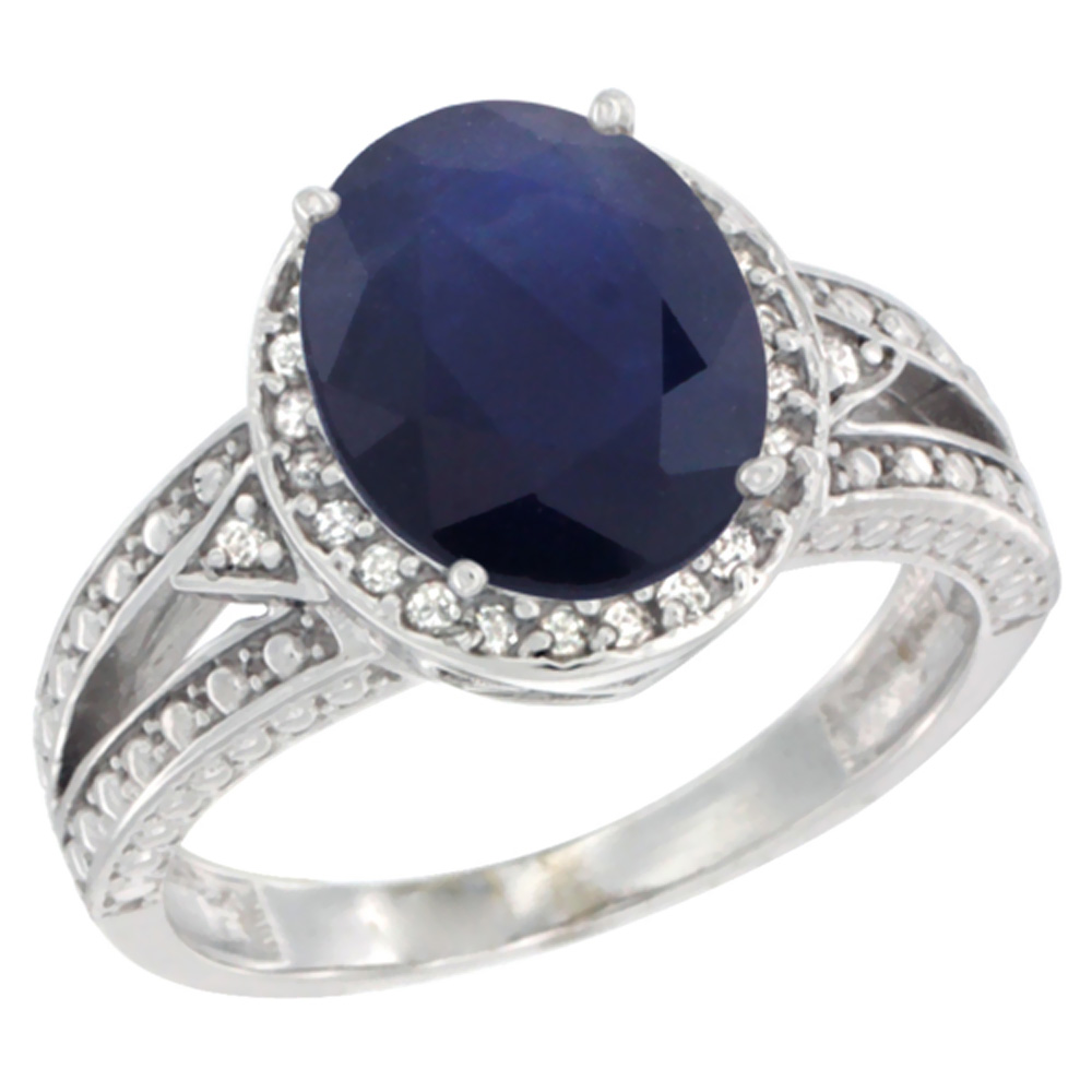 14K White Gold Natural Diffused Ceylon Sapphire Ring Oval 9x7 mm Diamond Halo, sizes 5 - 10