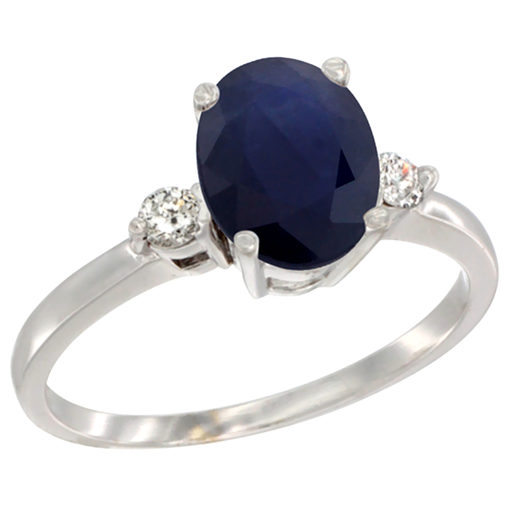 14K White Gold Natural Diffused Ceylon Sapphire Ring Oval 9x7 mm Diamond Accent, sizes 5 to 10