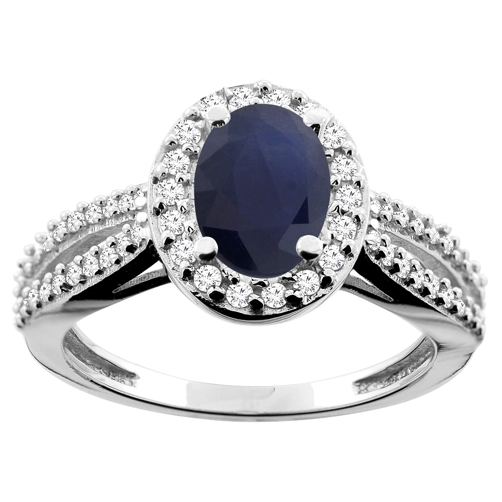 10K White/Yellow/Rose Gold Natural Australian Sapphire Ring Oval 8x6mm Diamond Accent, sizes 5 - 10