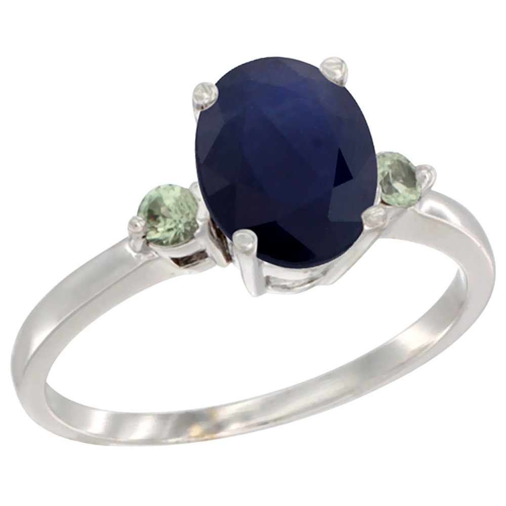 14K White Gold Natural Diffused Ceylon Sapphire Ring Oval 9x7 mm Green Sapphire Accent, sizes 5 to 10
