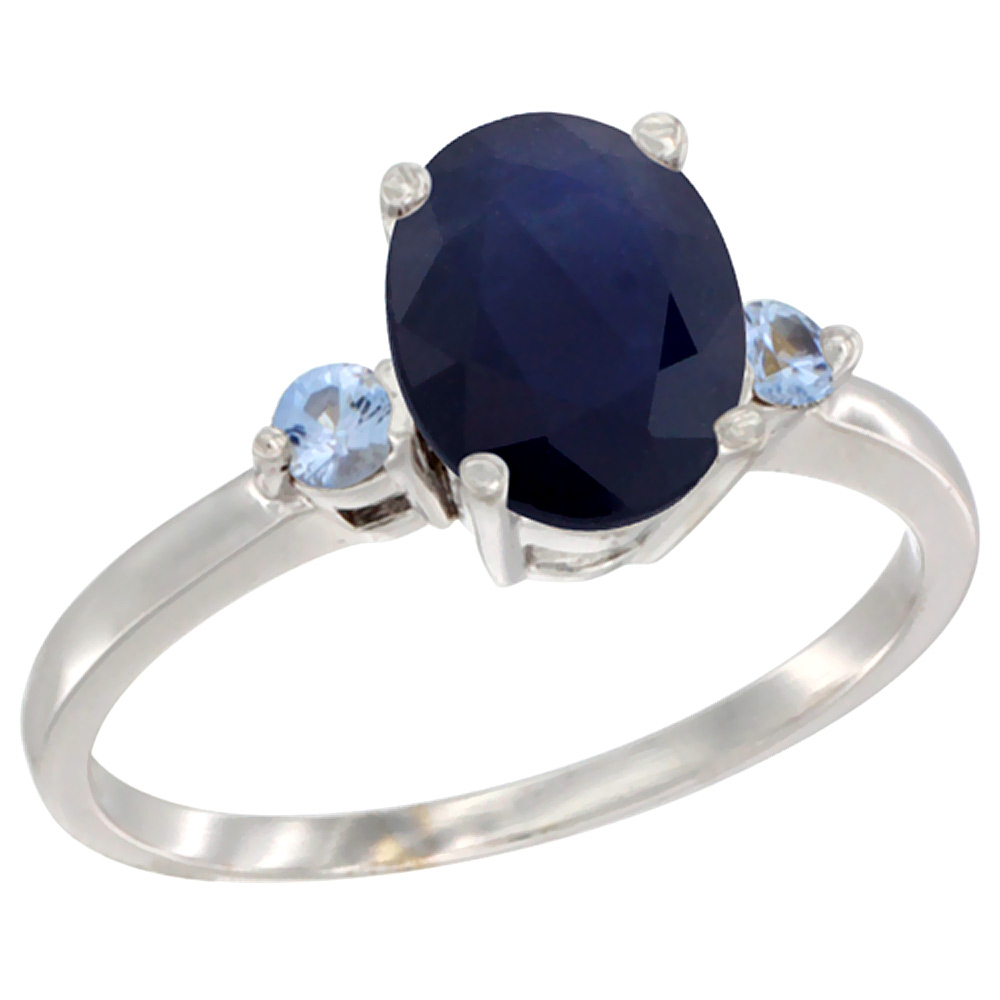 10K White Gold Natural Diffused Ceylon Sapphire Ring Oval 9x7 mm Light Blue Sapphire Accent, sizes 5 to 10