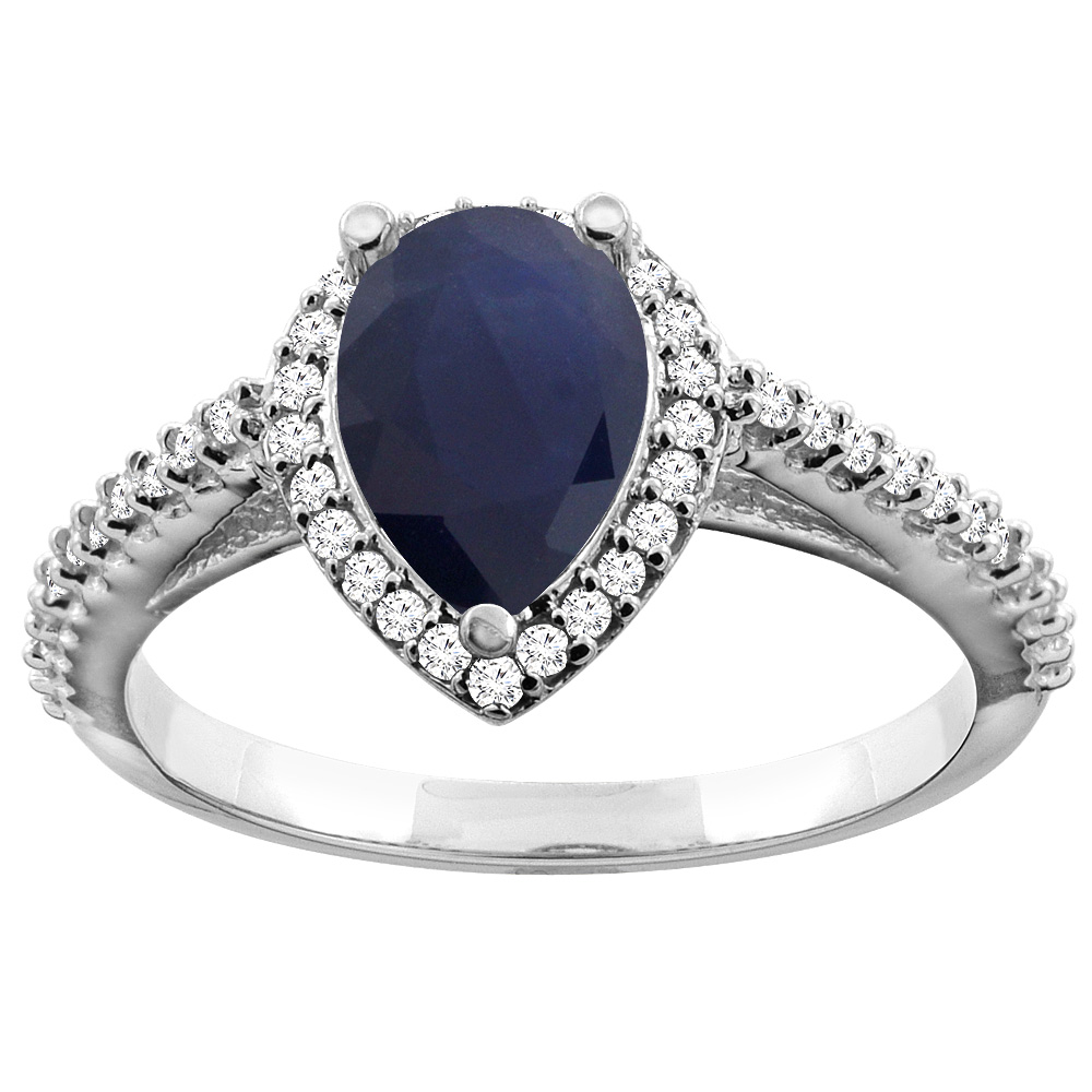 10K White Gold Natural Diffused Ceylon Sapphire Ring Pear 9x7mm Diamond Accents, sizes 5 - 10
