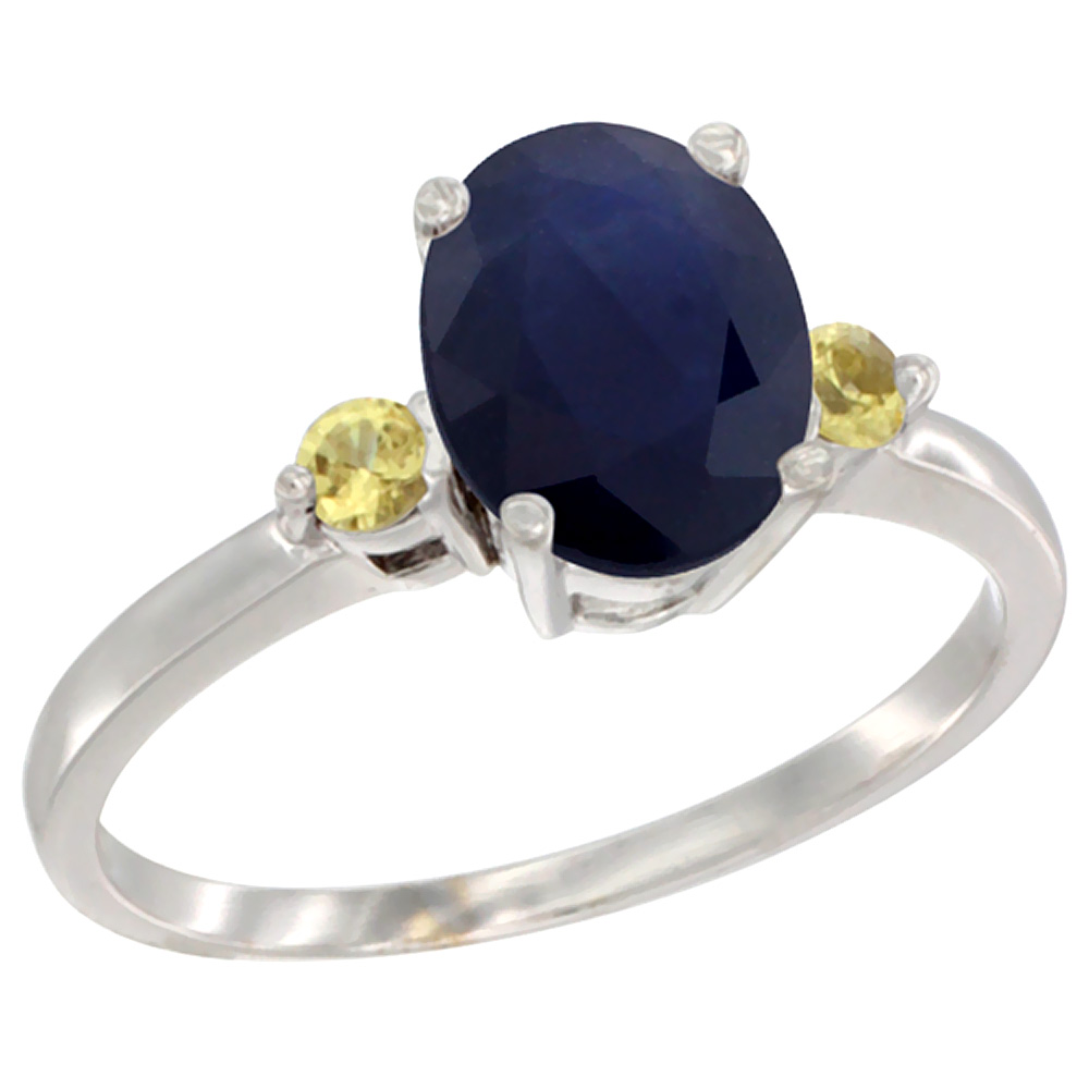 10K White Gold Natural Diffused Ceylon Sapphire Ring Oval 9x7 mm Yellow Sapphire Accent, sizes 5 to 10