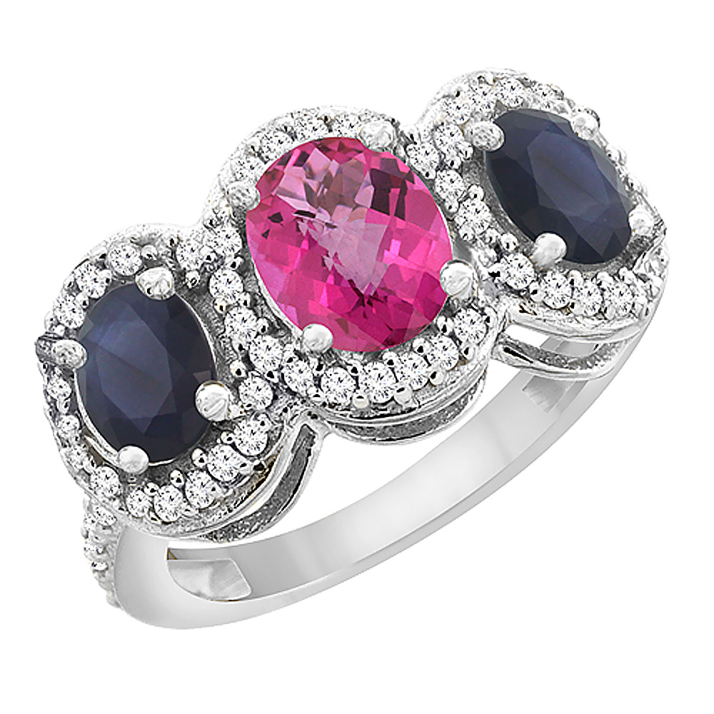 14K White Gold Diamond Natural Pink Sapphire & Quality Blue Sapphire Engagement Ring Oval , size 5-10