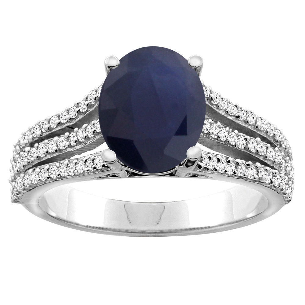 10K White/Yellow Gold Natural Diffused Ceylon Sapphire Tri-split Ring Oval 9x7mm Diamond Accents, sizes 5 - 10