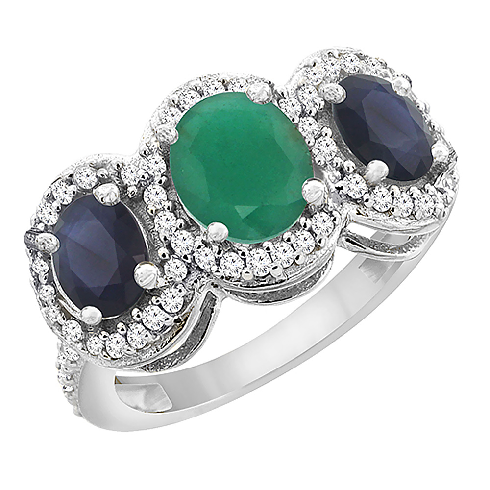 14K White Gold Diamond Natural Cabochon Emerald 7x5mm&6x4mmQuality Blue Sapphire Oval 3-stone Ring,sz5-10