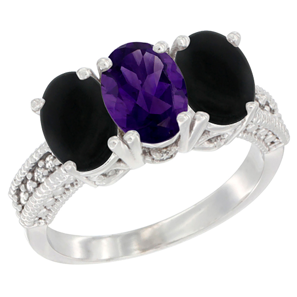 14K White Gold Natural Amethyst & Black Onyx Sides Ring 3-Stone 7x5 mm Oval Diamond Accent, sizes 5 - 10