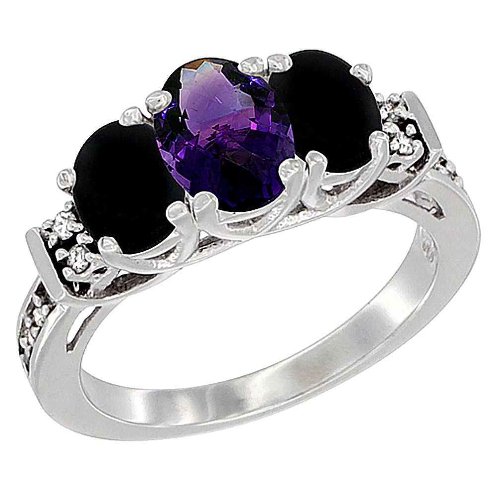 14K White Gold Natural Amethyst & Black Onyx Ring 3-Stone Oval Diamond Accent, sizes 5-10
