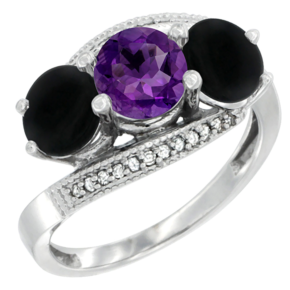 14K White Gold Natural Amethyst & Black Onyx Sides 3 stone Ring Round 6mm Diamond Accent, sizes 5 - 10