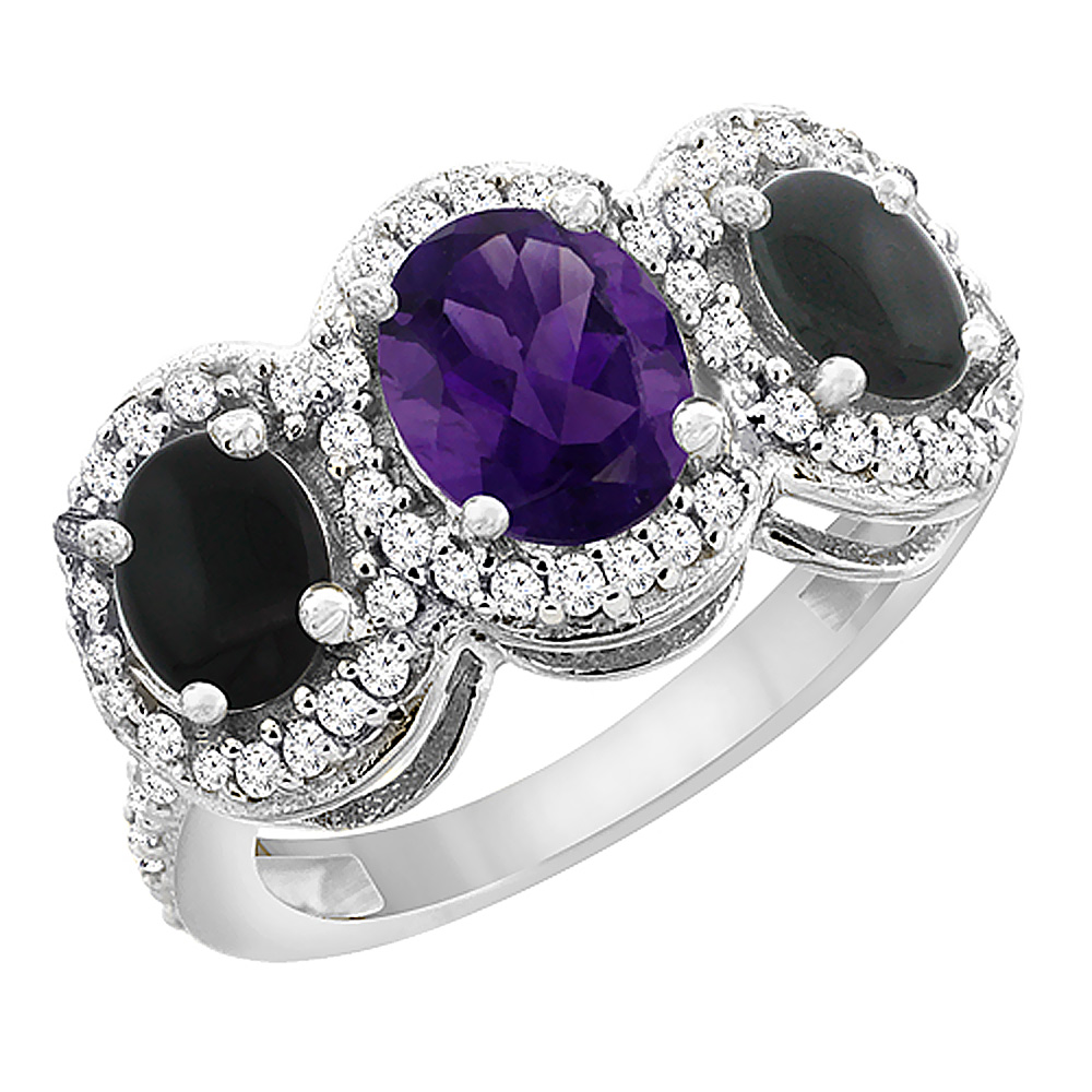 14K White Gold Natural Amethyst & Black Onyx 3-Stone Ring Oval Diamond Accent, sizes 5 - 10