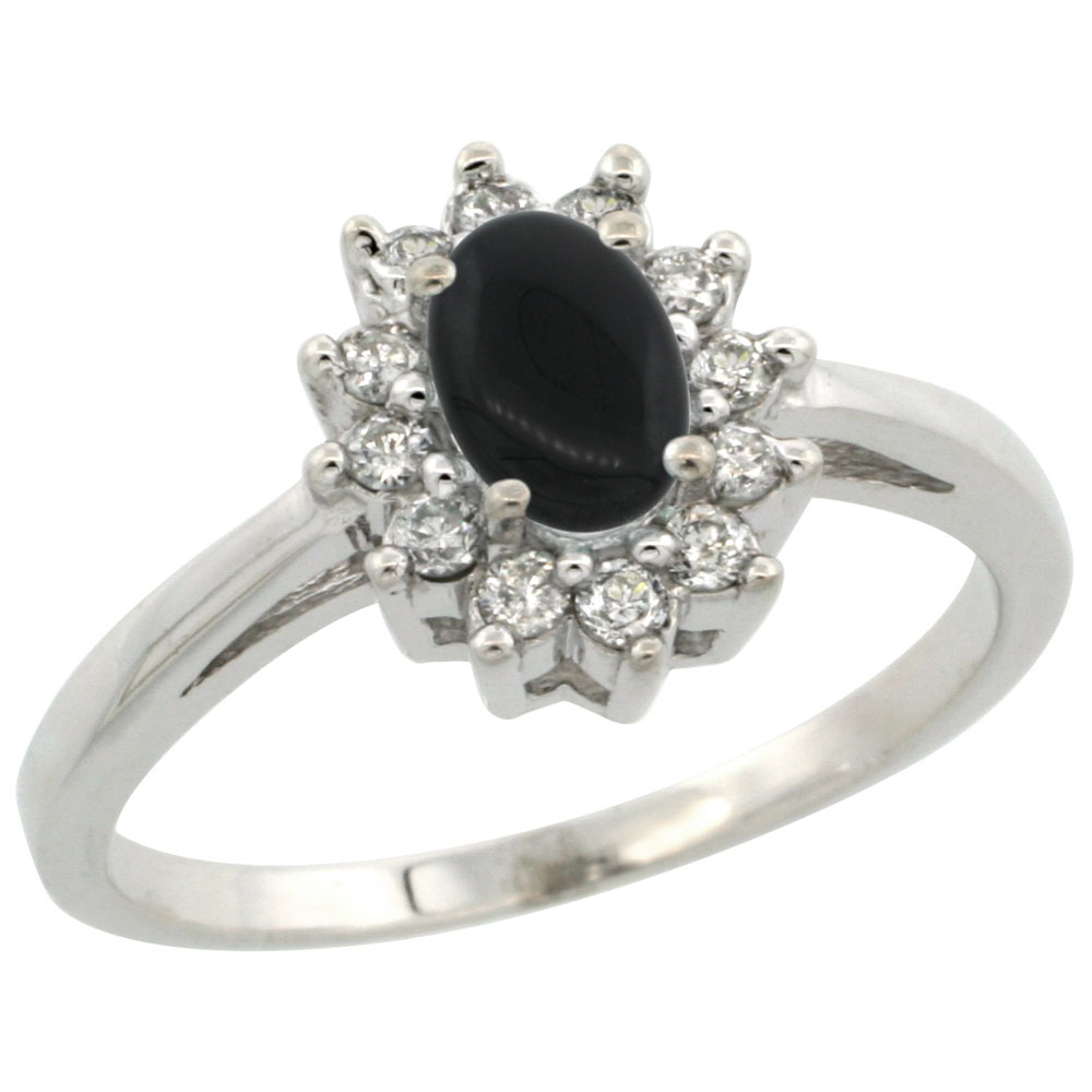 10K White Gold Natural Black Onyx Flower Diamond Halo Ring Oval 6x4 mm, sizes 5 10