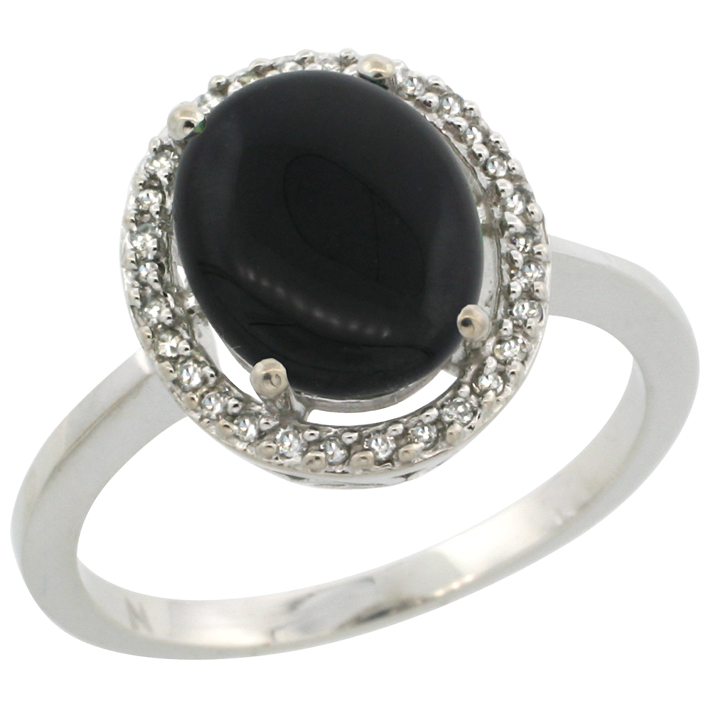 10K White Gold Diamond Halo Natural Black Onyx Engagement Ring Oval 10x8  Mm, Sizes 5