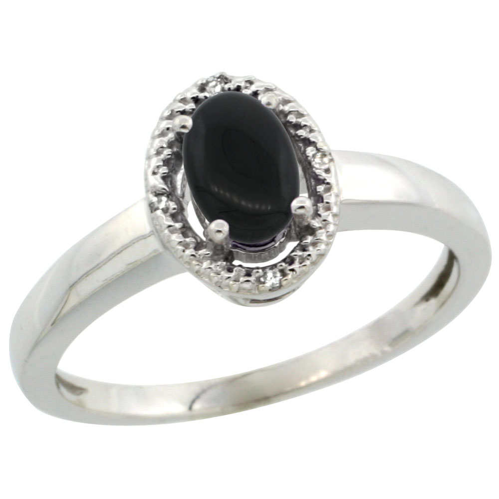 10K White Gold Diamond Halo Natural Black Onyx Engagement Ring Oval 6X4 mm, sizes 5-10