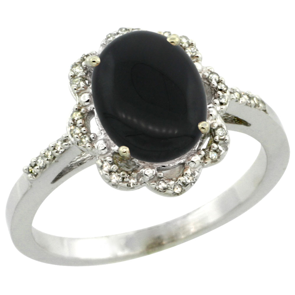 14K White Gold Diamond Halo Natural Black Onyx Engagement Ring Oval 9x7mm, sizes 5-10