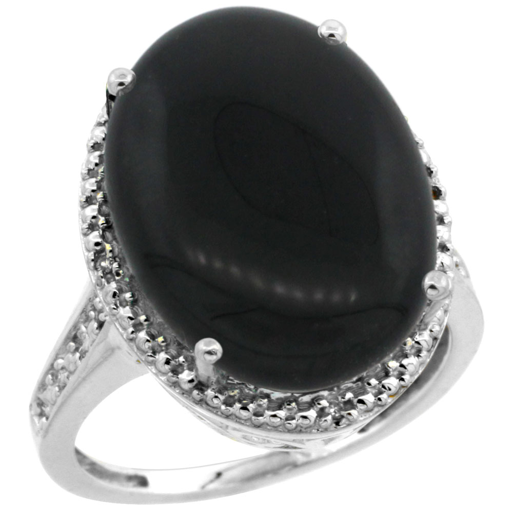 14K White Gold Diamond Natural Black Onyx Ring Oval 18x13mm, sizes 5-10