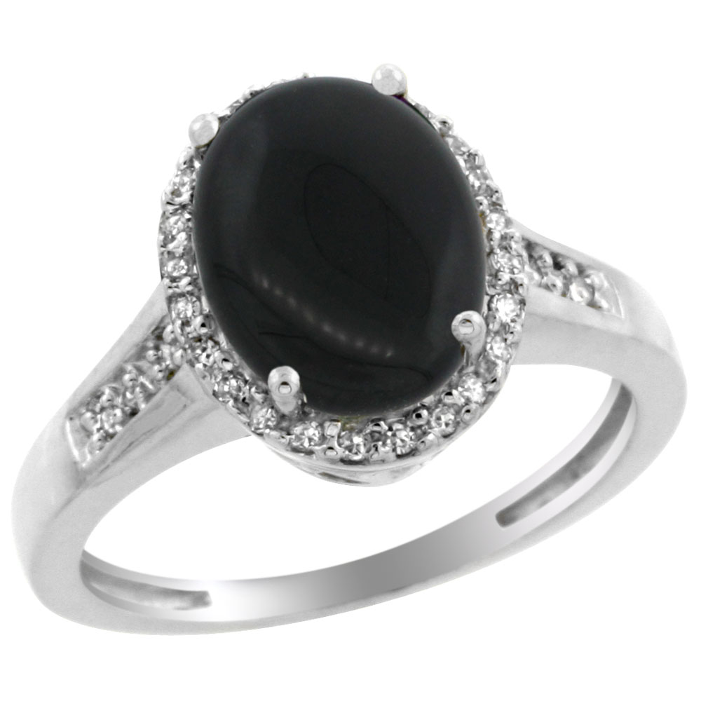 14K White Gold Diamond Natural Black Onyx Engagement Ring Oval 10x8mm, sizes 5-10