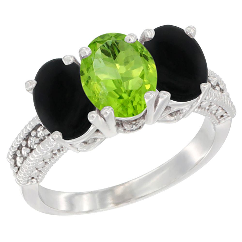 10K White Gold Diamond Natural Peridot & Black Onyx Ring 3-Stone 7x5 mm Oval, sizes 5 - 10