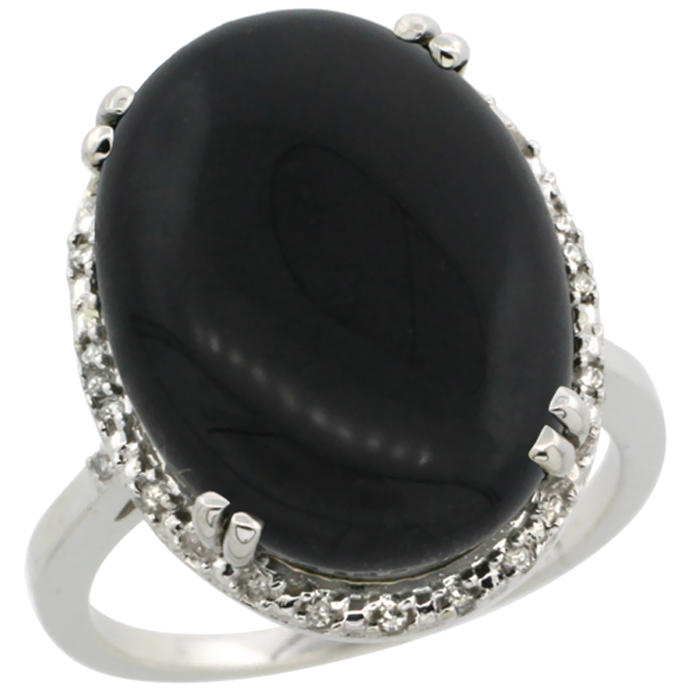 14K White Gold Natural Black Onyx Ring Large Oval 18x13mm Diamond Halo, sizes 5-10