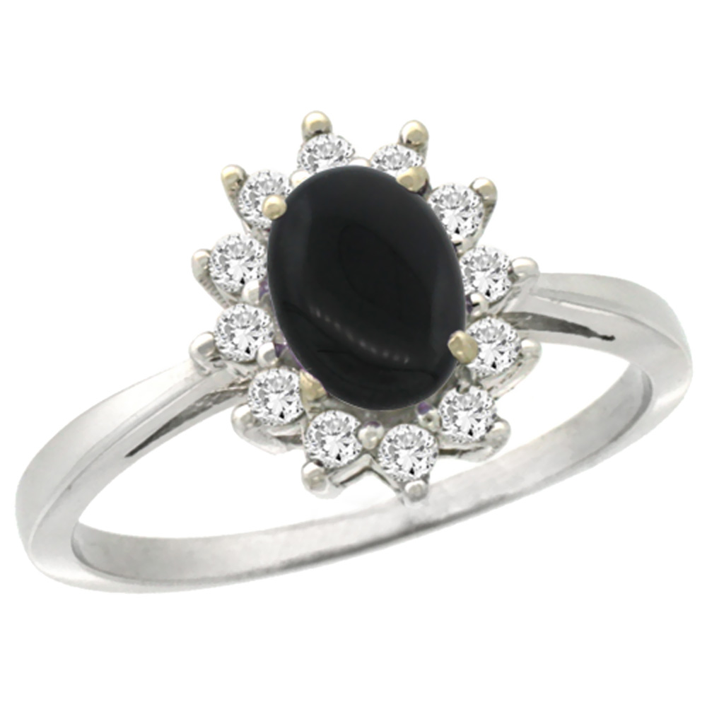 14K White Gold Natural Black Onyx Engagement Ring Oval 7x5mm Diamond Halo, sizes 5-10