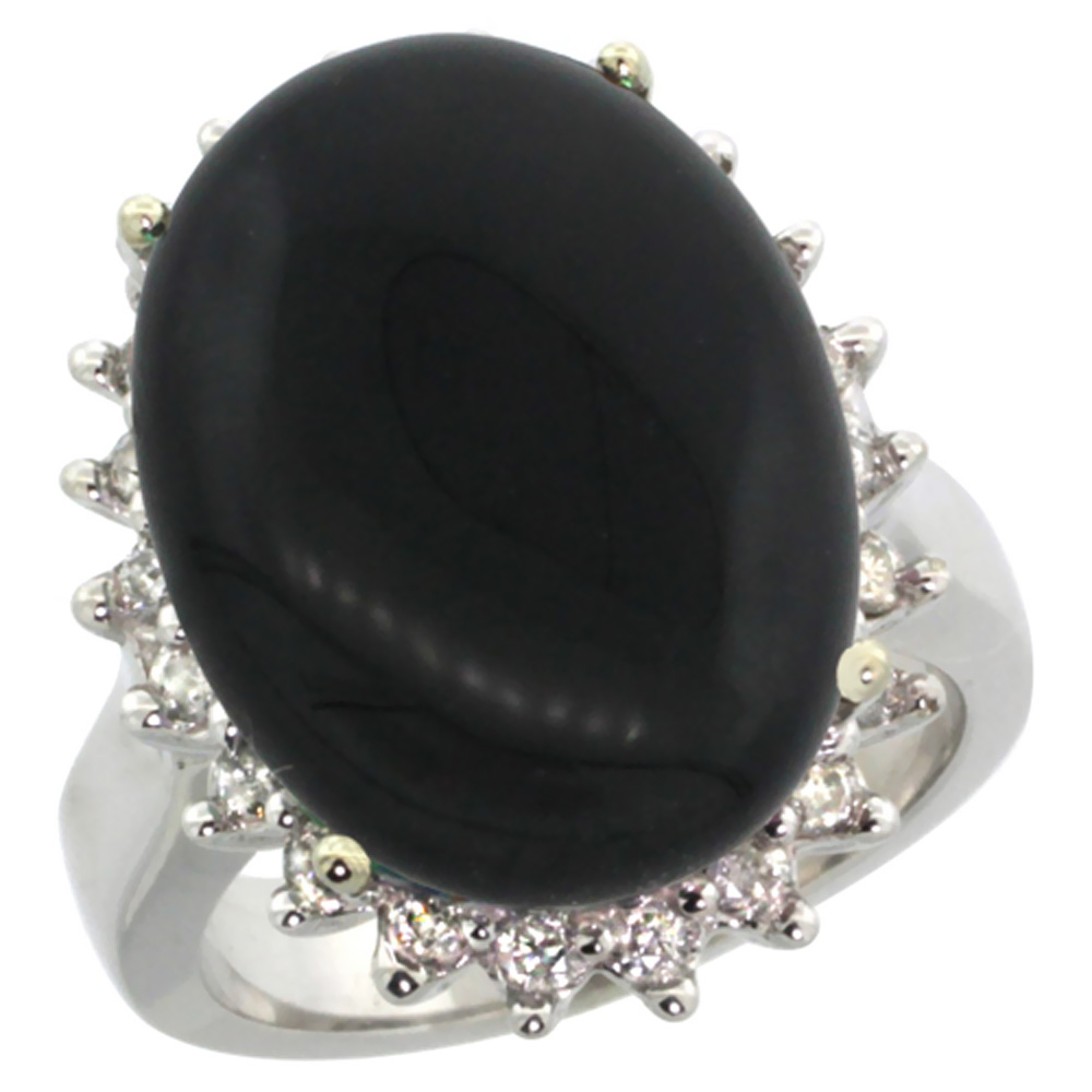 10k White Gold Natural Black Onyx Ring Large Oval 18x13mm Diamond Halo, sizes 5-10