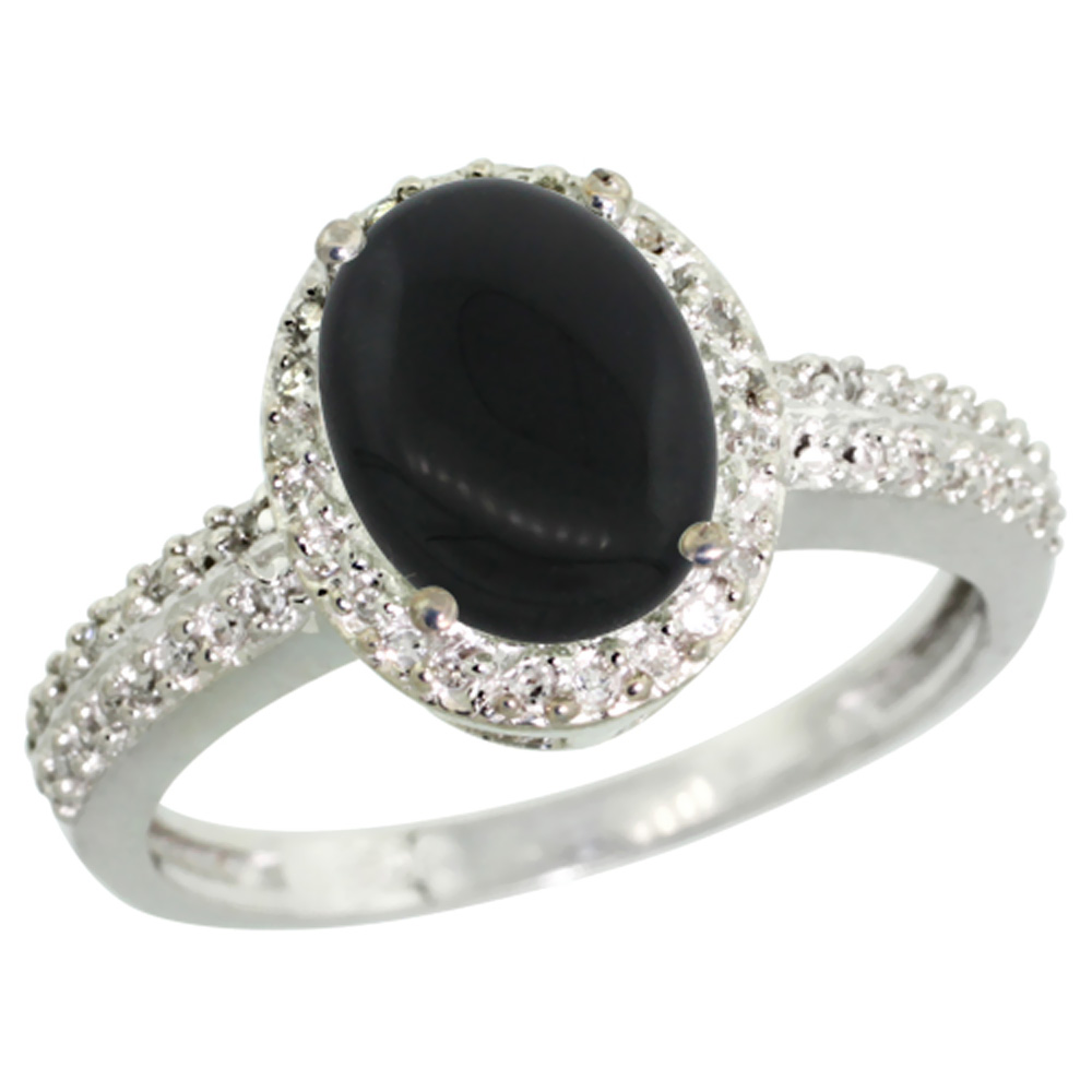 10K White Gold Diamond Natural Black Onyx Ring Oval 9x7mm, sizes 5-10