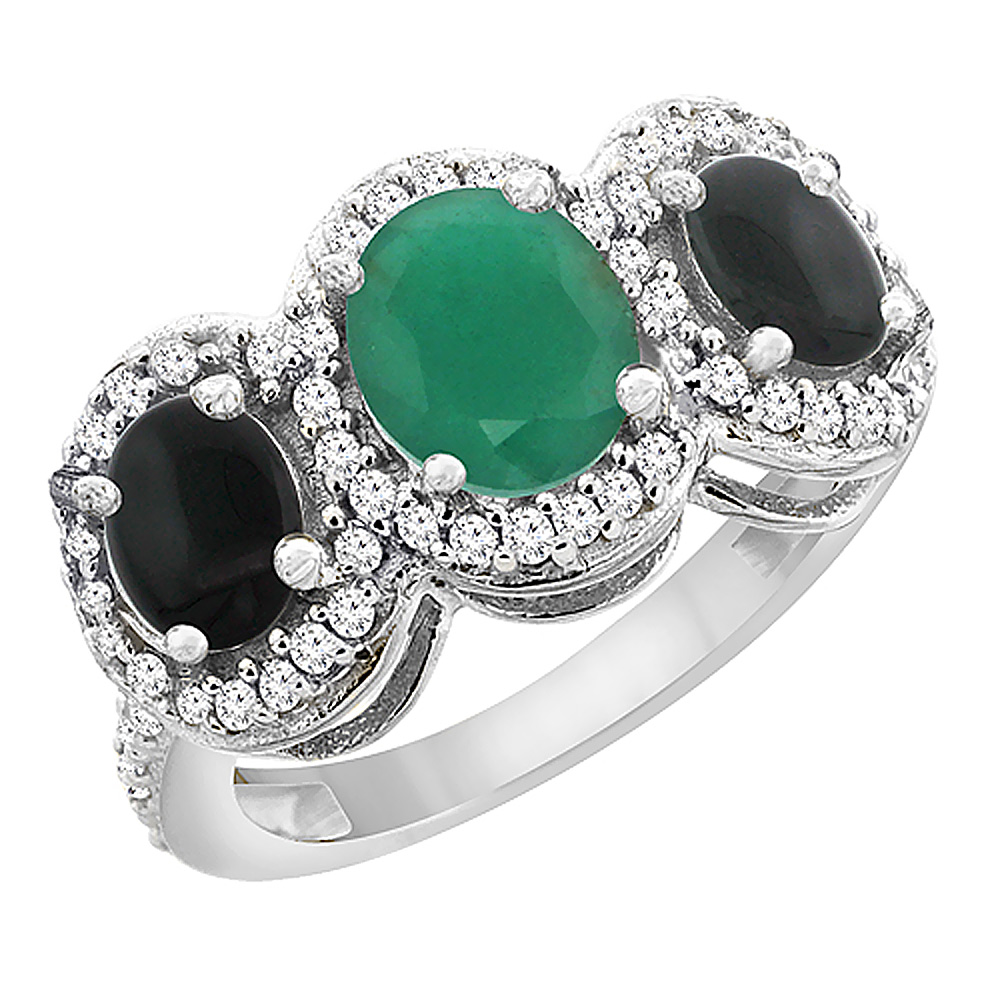 14K White Gold Natural Cabochon Emerald & Black Onyx 3-Stone Ring Oval Diamond Accent, sizes 5 - 10