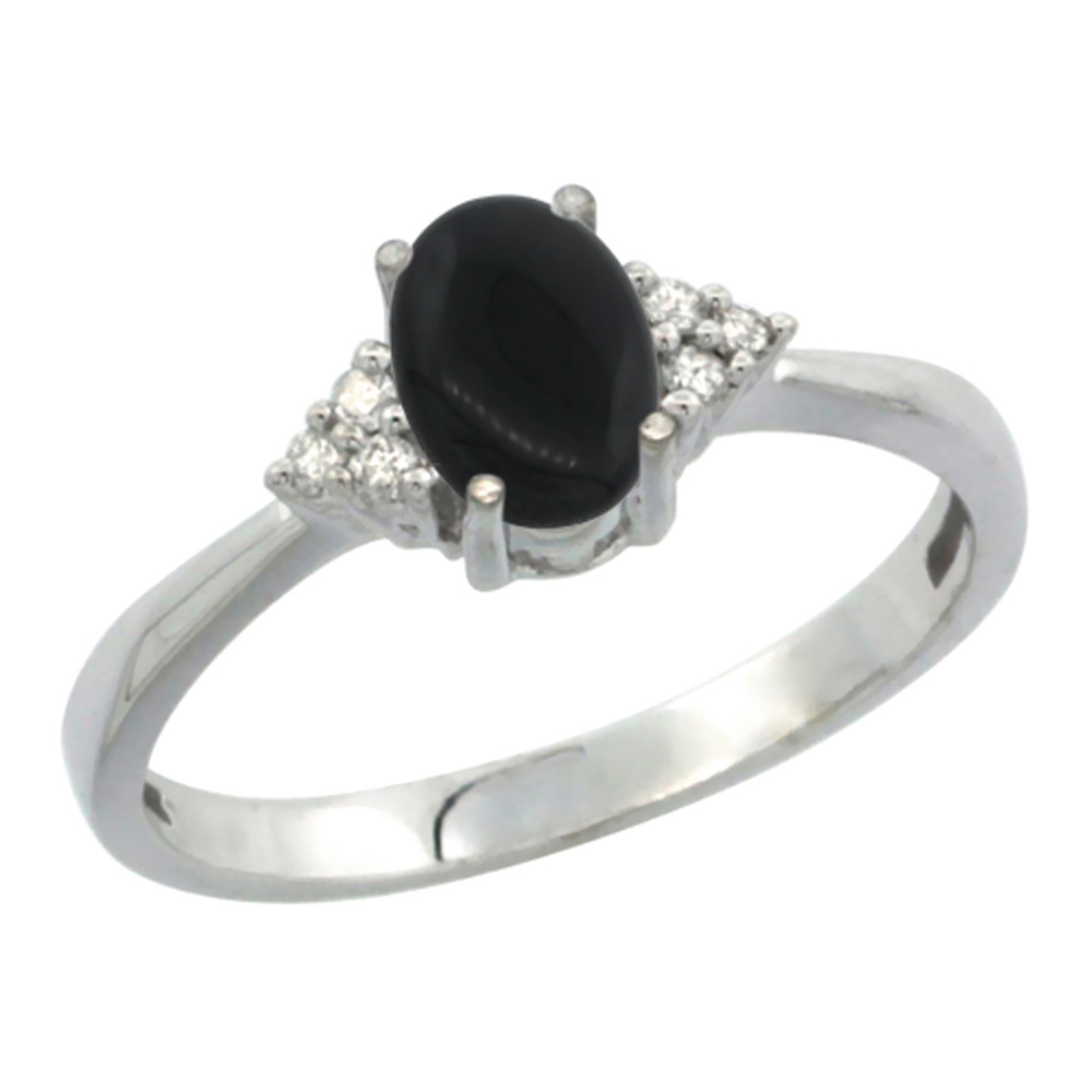 14K White Gold Diamond Natural Black Onyx Engagement Ring Oval 7x5mm, sizes 5-10