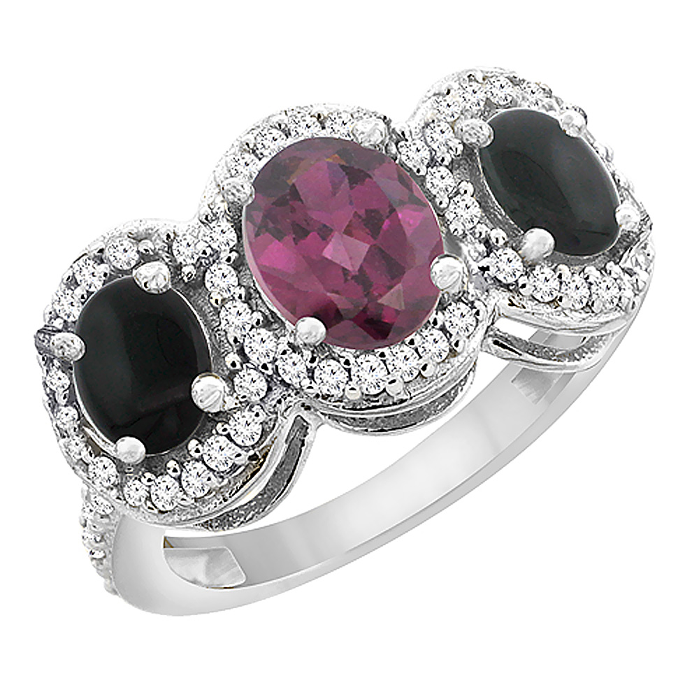 14K White Gold Natural Rhodolite & Black Onyx 3-Stone Ring Oval Diamond Accent, sizes 5 - 10