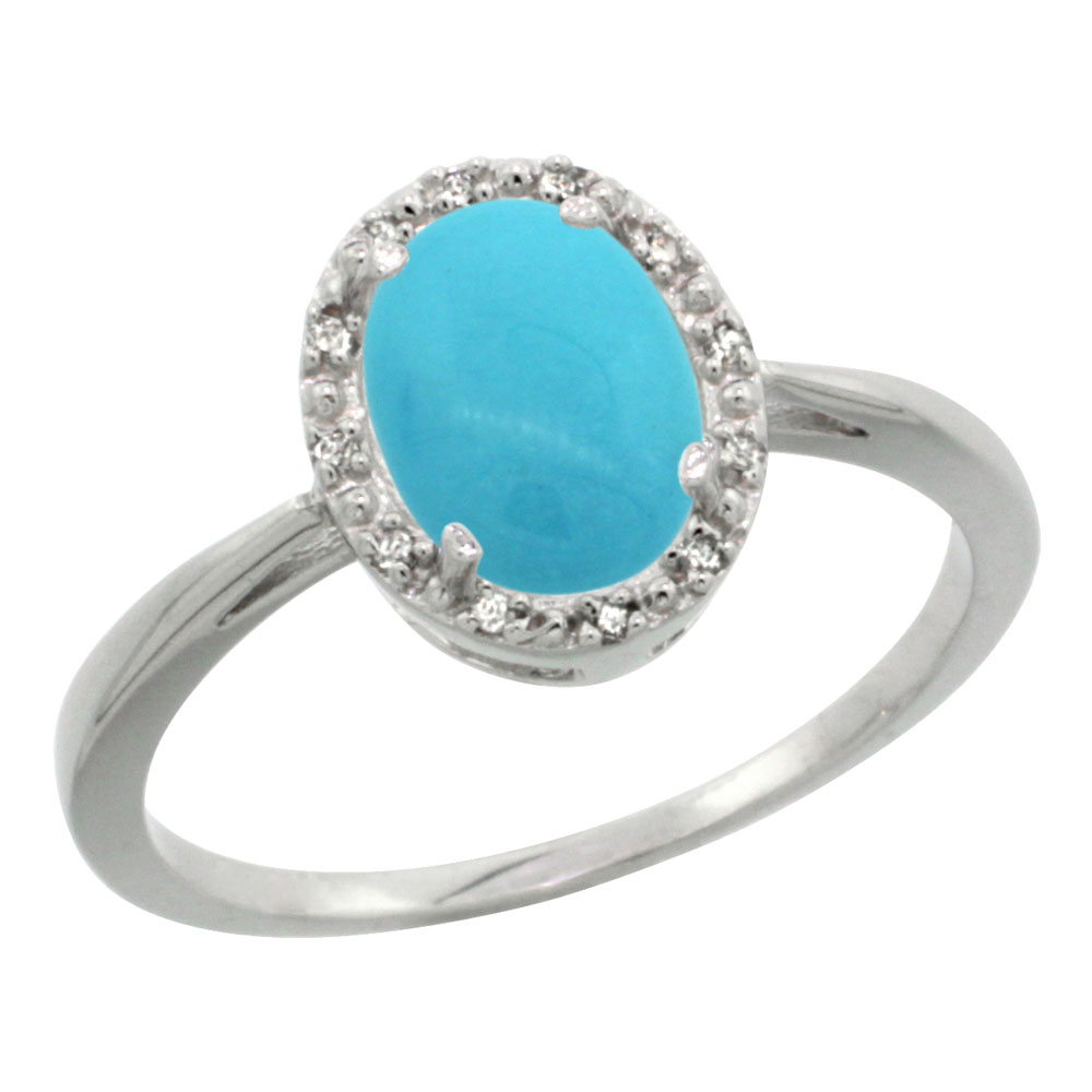 14K White Gold Natural Sleeping Beauty Turquoise Diamond  Halo Ring Oval 8X6mm, sizes 5-10