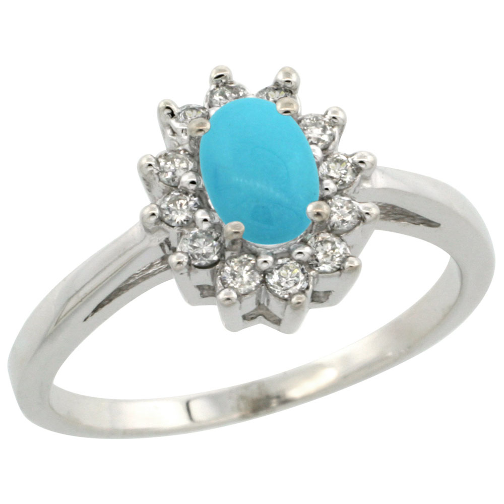 10K White Gold Natural Sleeping Beauty Turquoise Flower Diamond Halo Ring Oval 6x4 mm, sizes 5-10