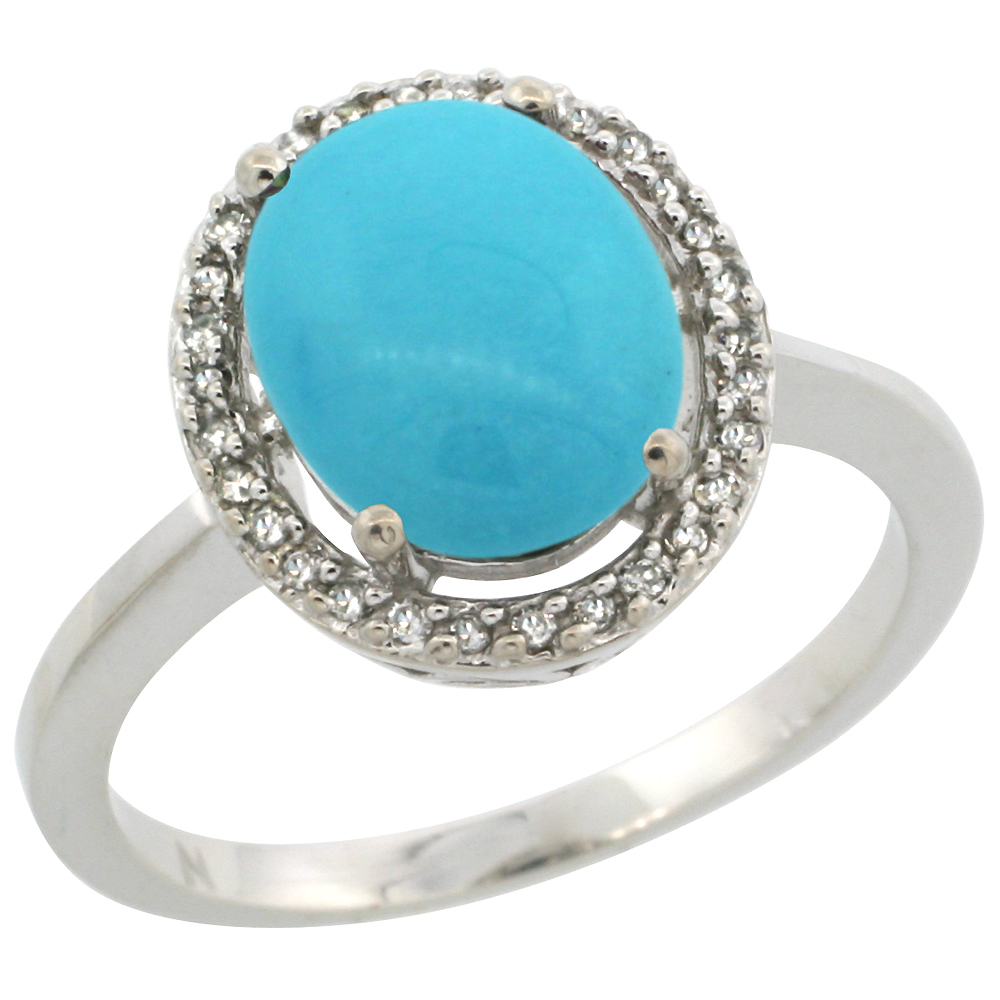 10K White Gold Natural Diamond Sleeping Beauty Turquoise Halo Engagement Ring Oval 10x8 mm, sizes 5 10
