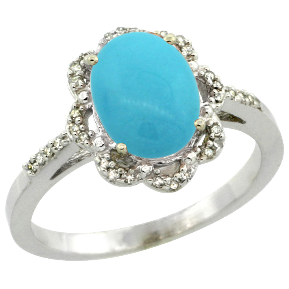 14K White Gold Natural Diamond Halo Turquoise Engagement Ring Oval 9x7mm, sizes 5-10