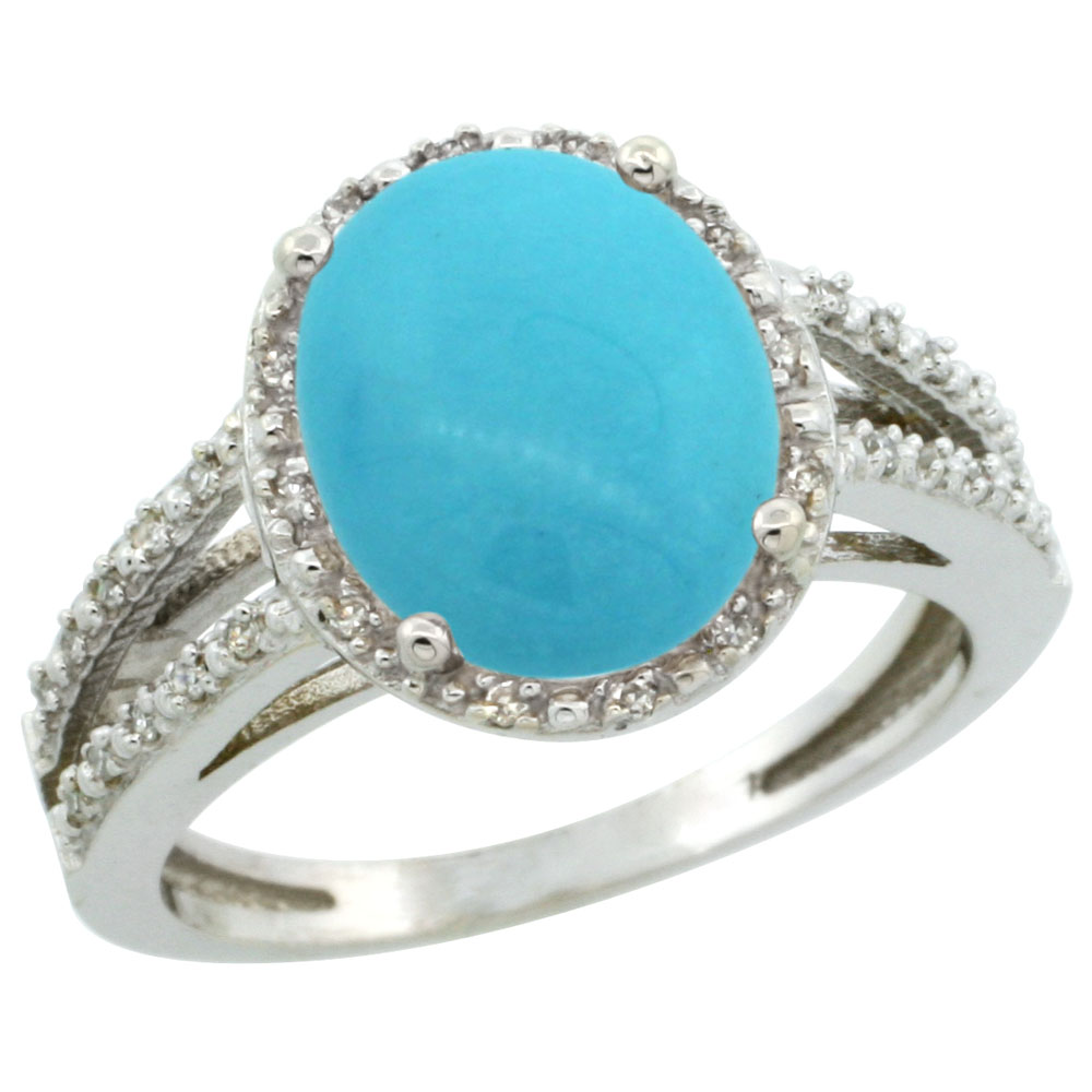 10K White Gold Diamond Natural Sleeping Beauty Turquoise Ring Oval 11x9mm, sizes 5-10
