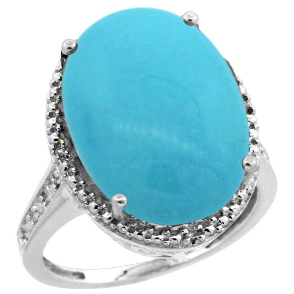 10K White Gold Natural Diamond Sleeping Beauty Turquoise Ring Oval 18x13mm, sizes 5-10