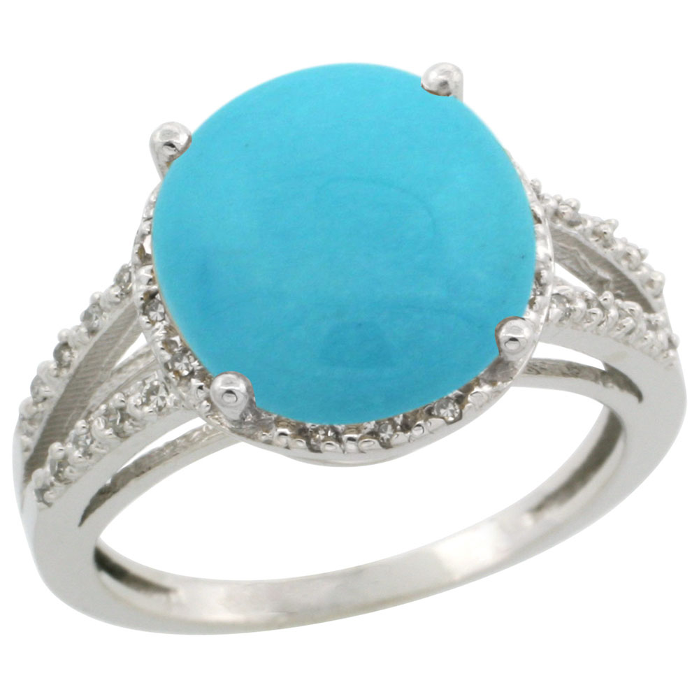 10K White Gold Diamond Natural Turquoise Ring Round 11mm, sizes 5-10