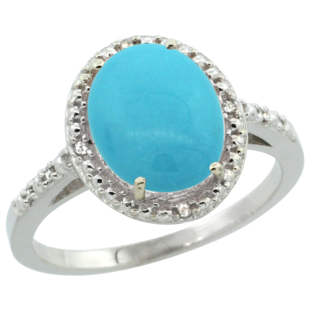 10K White Gold Natural Diamond Sleeping Beauty Turquoise Engagement Ring Oval 10x8mm, sizes 5-10