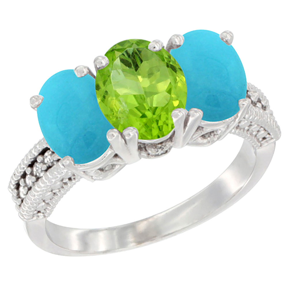 10K White Gold Diamond Natural Peridot & Turquoise Ring 3-Stone 7x5 mm Oval, sizes 5 - 10