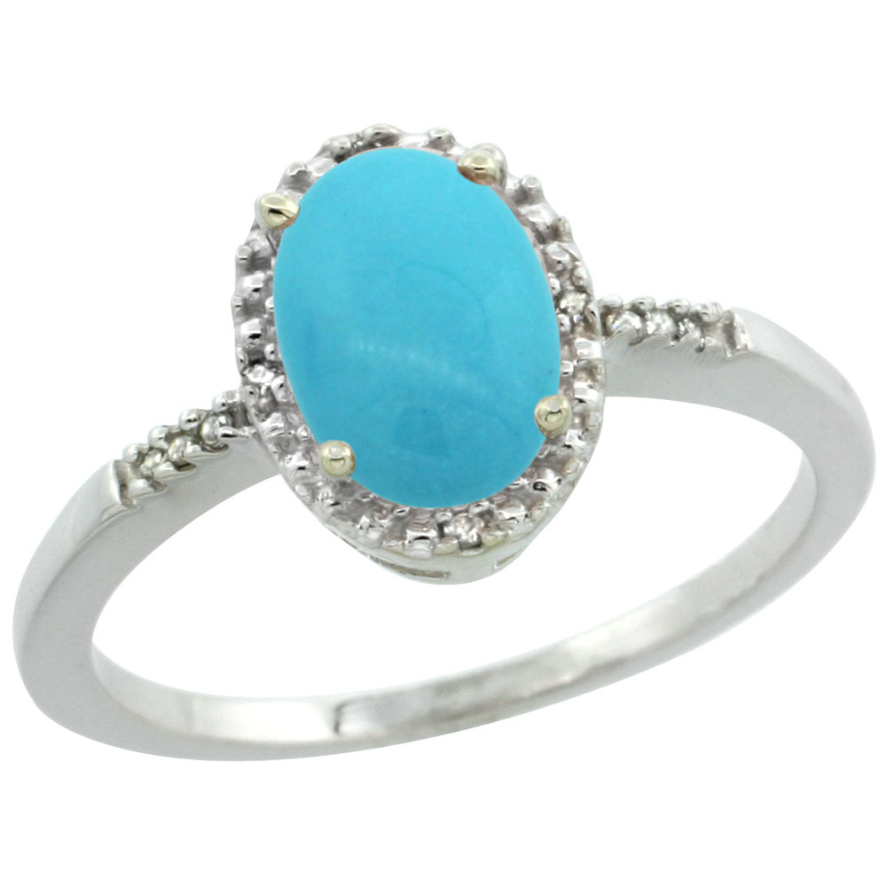 10K White Gold Natural Diamond Sleeping Beauty Turquoise Ring Oval 8x6mm, sizes 5-10