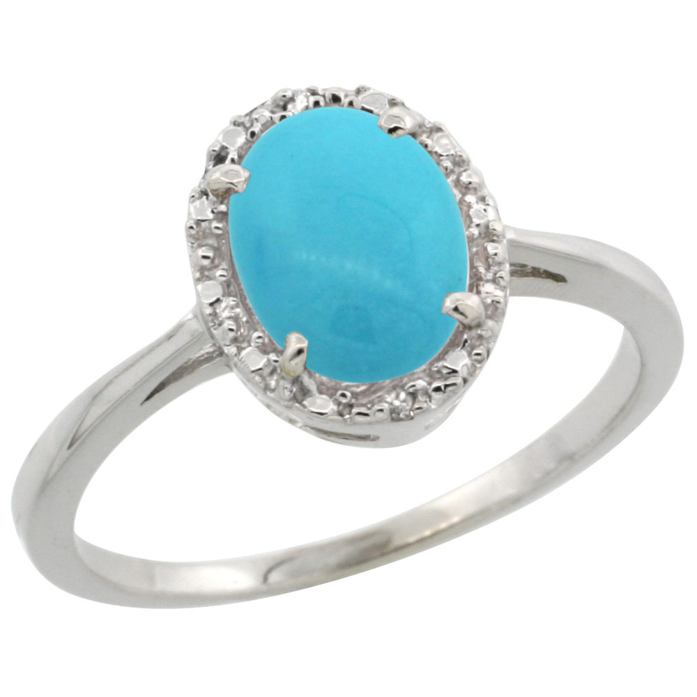 14K White Gold Natural Turquoise Ring Oval 8x6 mm Diamond Halo, sizes 5-10