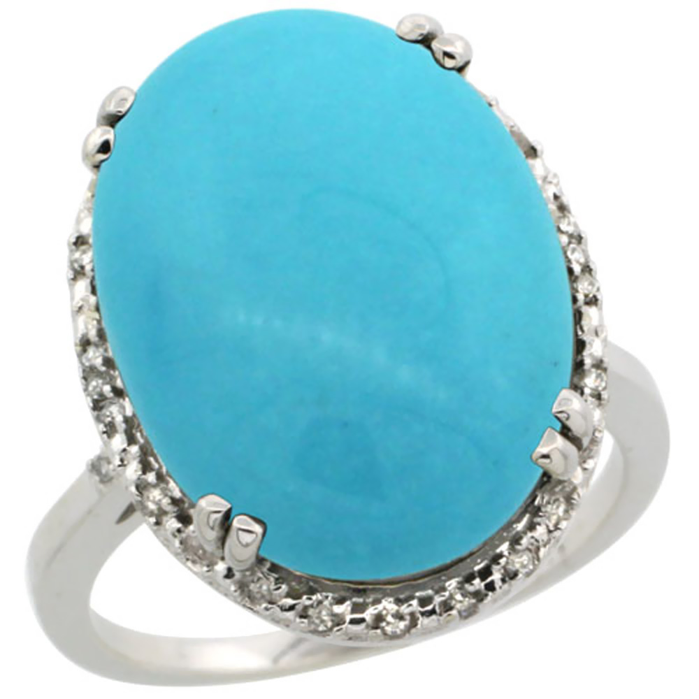 10k White Gold Natural Turquoise Ring Large Oval 18x13mm Diamond Halo, sizes 5-10