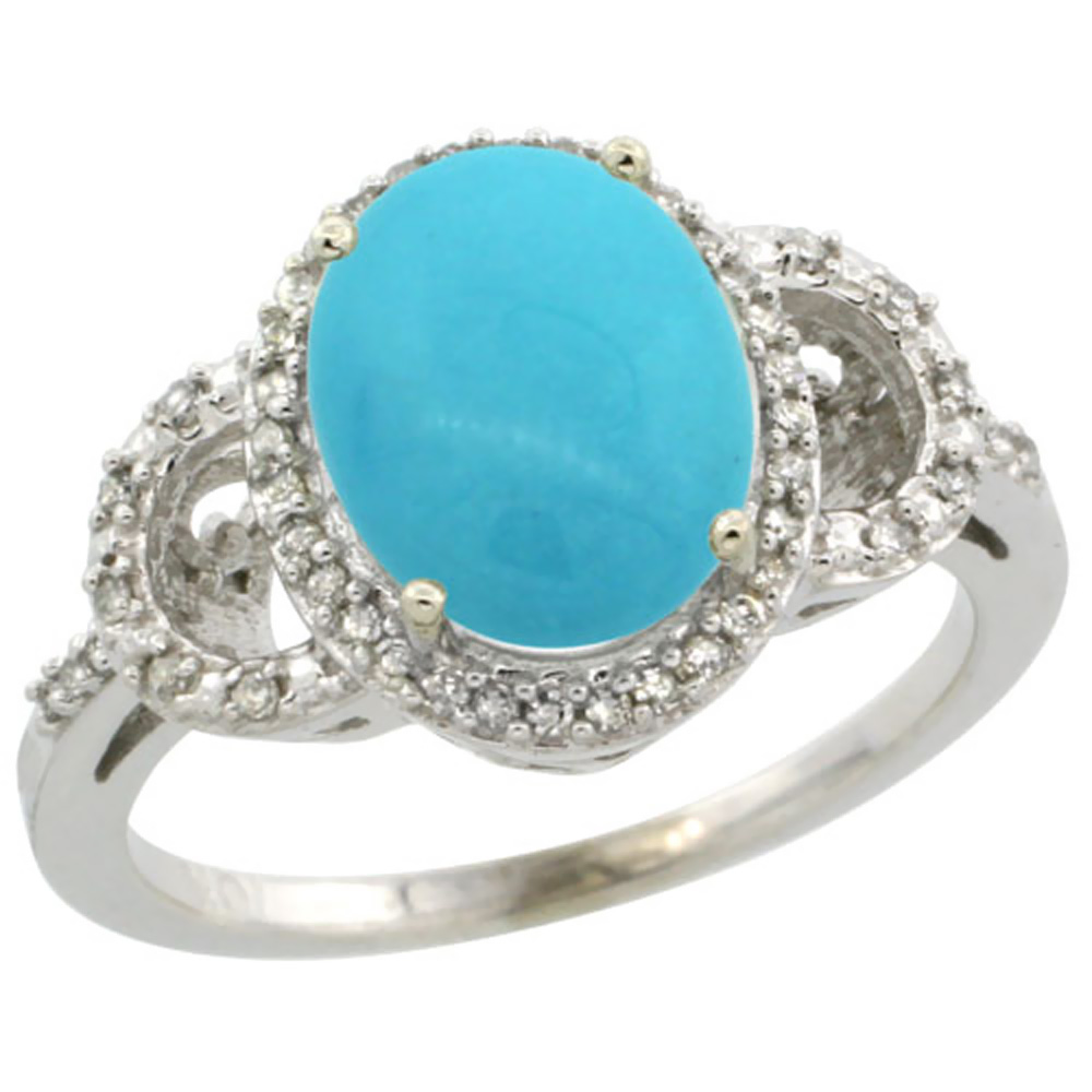 14K White Gold Natural Diamond Sleeping Beauty Turquoise Engagement Ring Oval 10x8mm, sizes 5-10