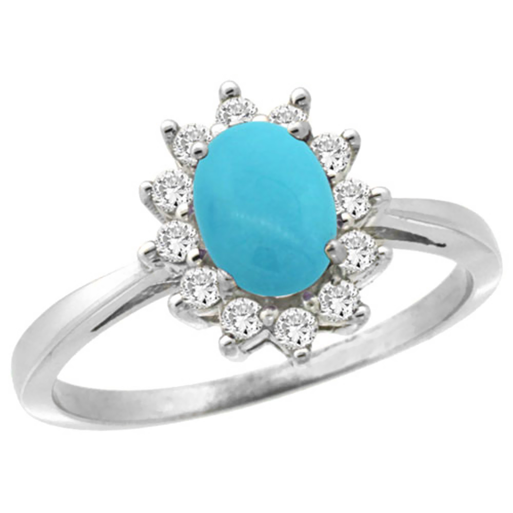 14K White Gold Natural Turquoise Engagement Ring Oval 7x5mm Diamond Halo, sizes 5-10