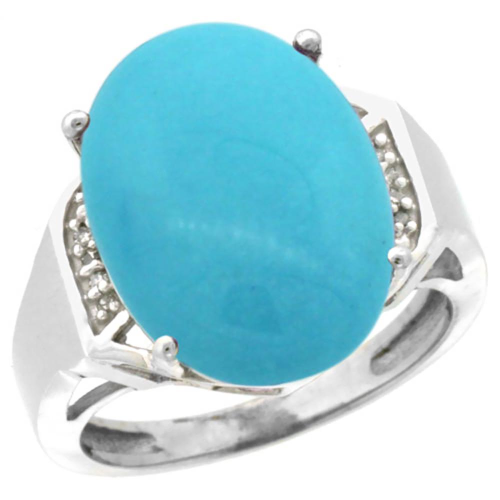 14K White Gold Natural Diamond Sleeping Beauty Turquoise Ring Oval 16x12mm, sizes 5-10