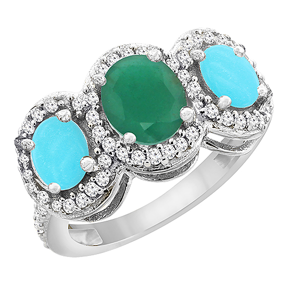 14K White Gold Natural Cabochon Emerald & Turquoise 3-Stone Ring Oval Diamond Accent, sizes 5 - 10